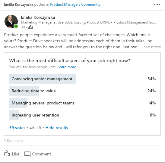 Linkedin poll - challenges