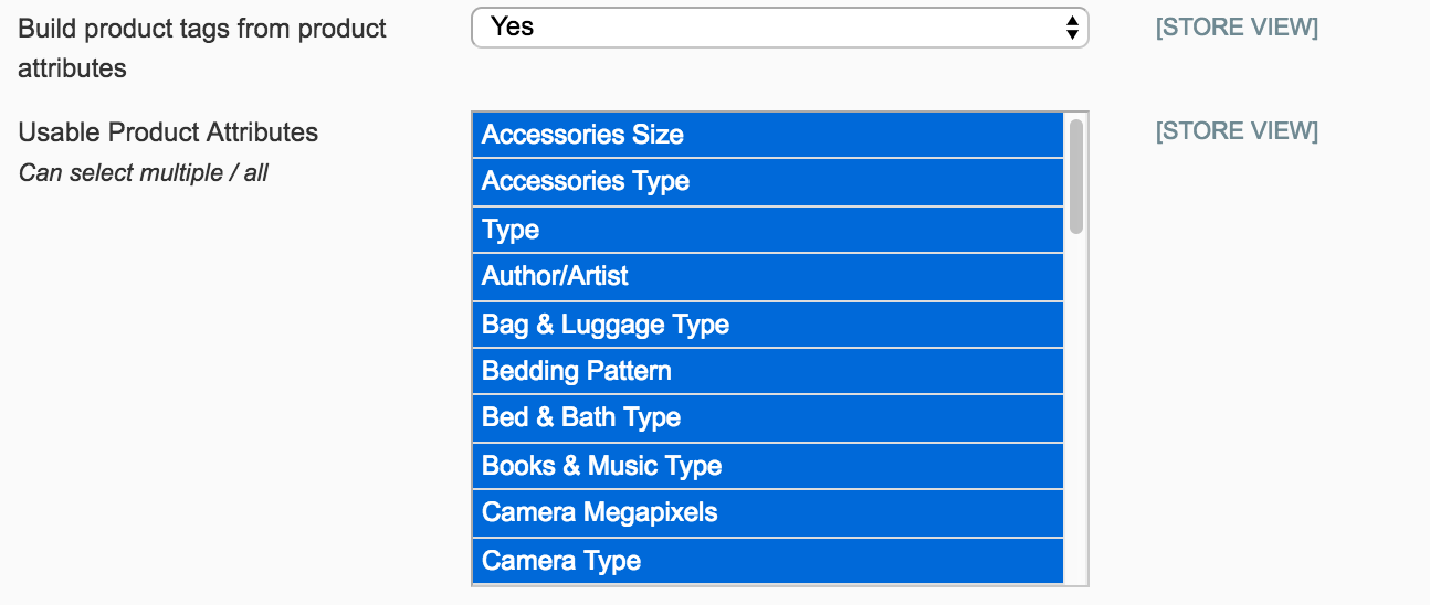 select product attributes to use for Sailthru tags
