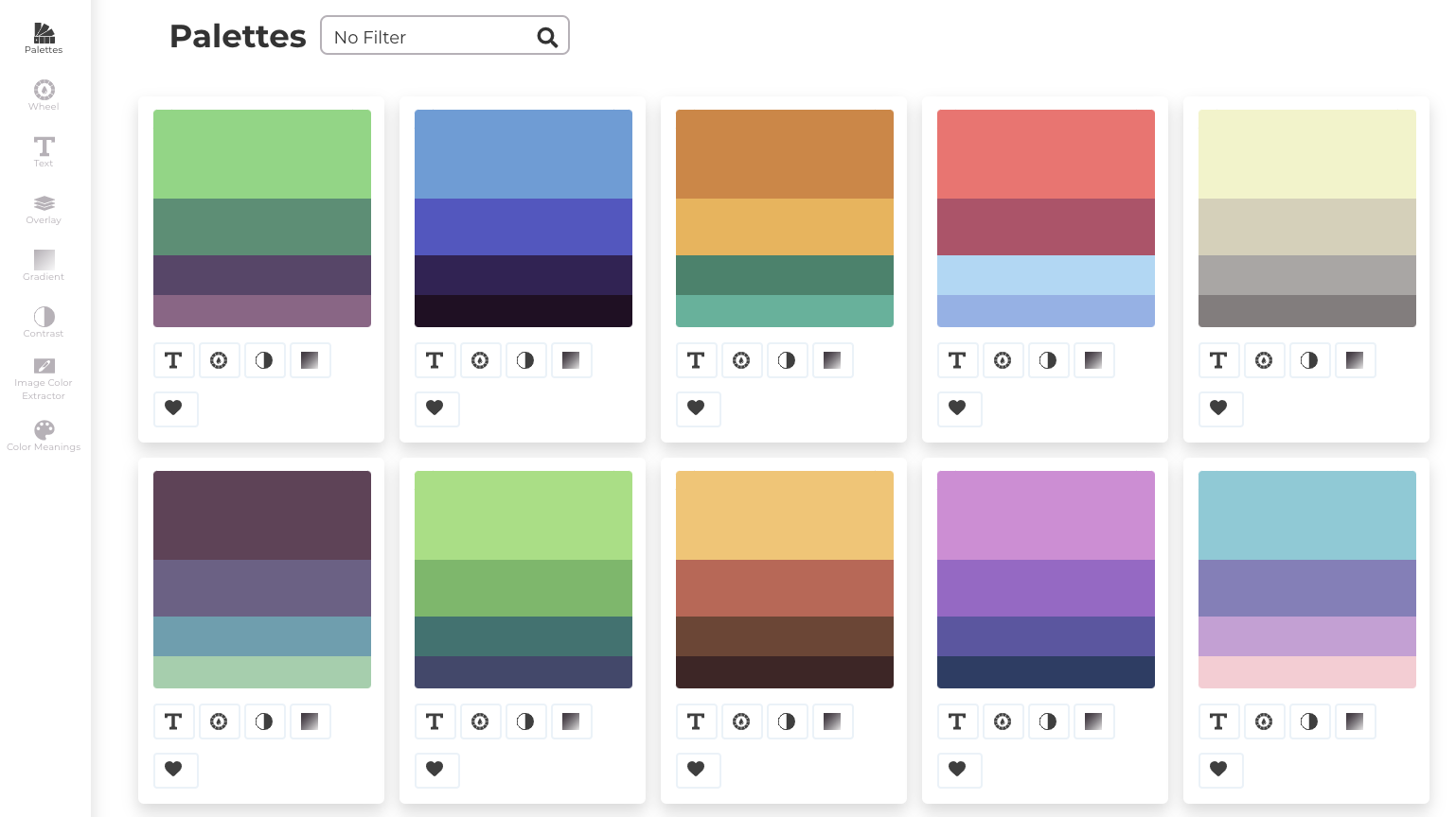 Color palettes by Color Matcher from Designs.ai