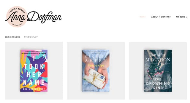 annadorfman.com showing Dorfman's book cover designs.
