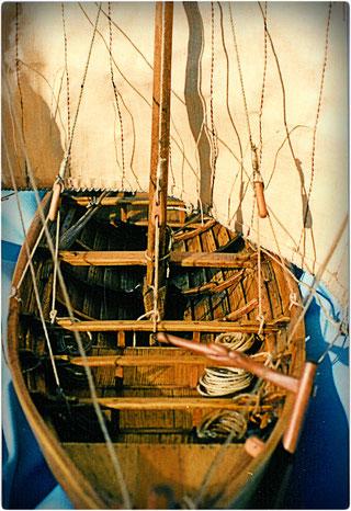 Wikinger Schiffsmodell 1:32, gebaut von Manfred Porath -  Takelage