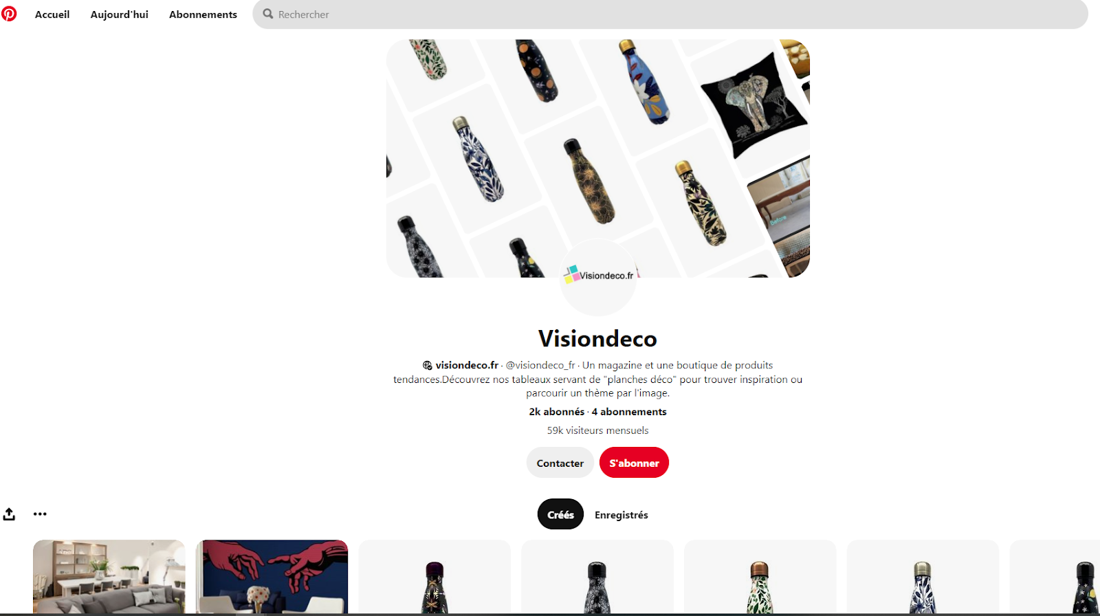 page pinterest visiondeco