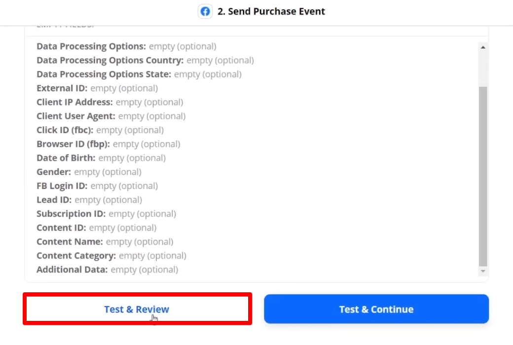 Test & Review button which allows you to check if your zap is set up correctly