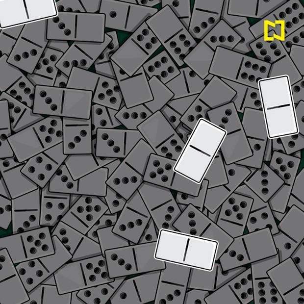Aqui estão as quatro mulas zero entre os dominós.  (Televisa)