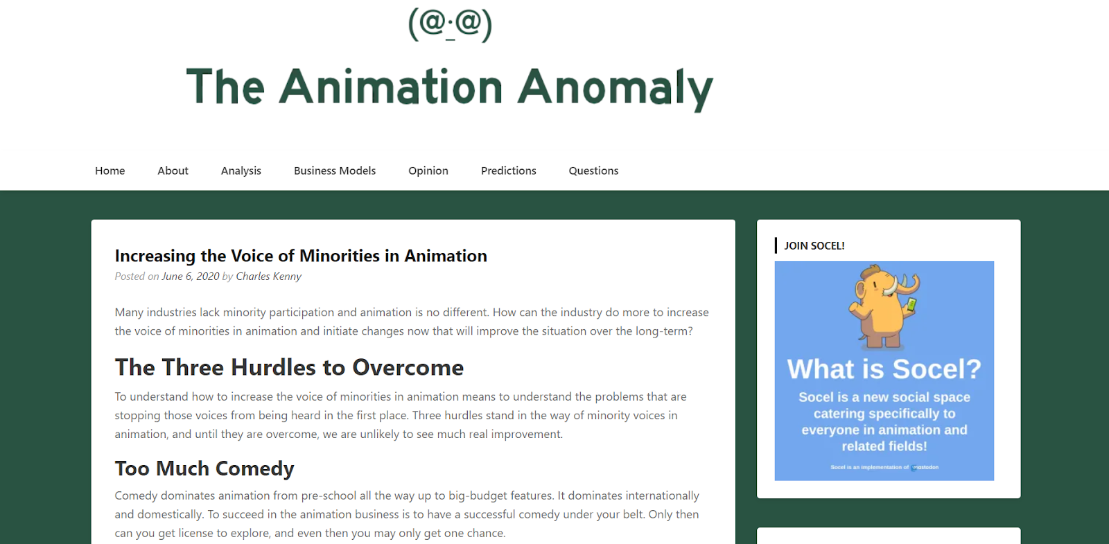 The Animation Anomaly blog
