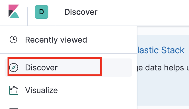 Click discover in the Kibana dashboard
