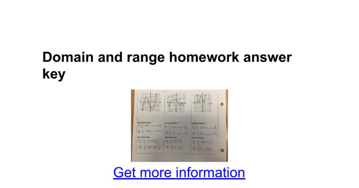 Domain and range homework answer key - Google Docs