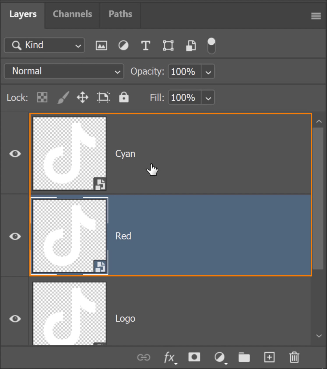 """Rename one layer as """"Cyan"""" and the other as """"Red."""""""