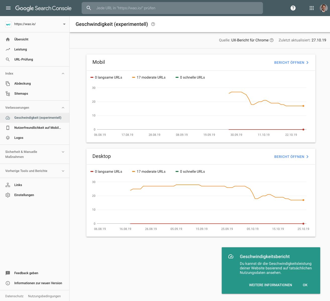 Google Search Console / Konsole Bericht der Geschwindigkeit von URL beziehungsweise der Webseite.
