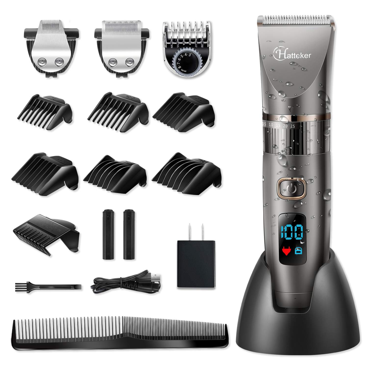 Hatteker Mens Cordless Beard and Hair Clippers