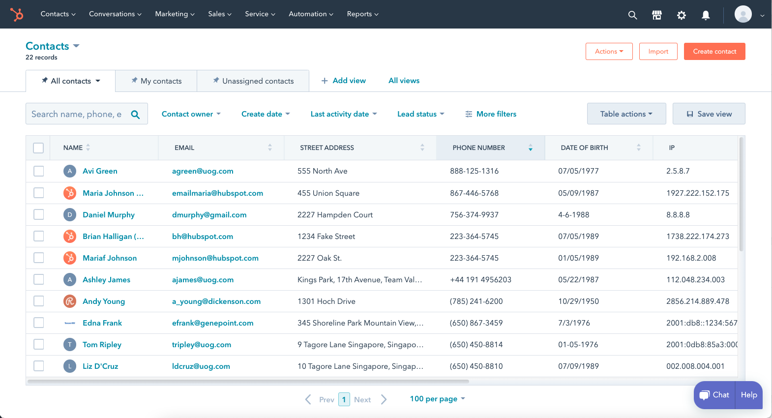 Contact Records View on HubSpot
