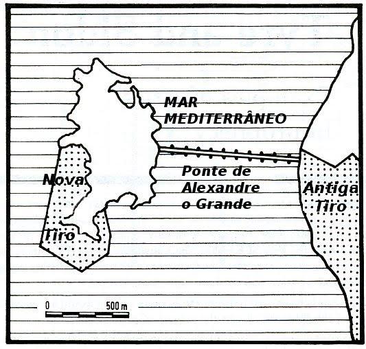 Mapa mostra a antiga e nova tiro e a ponte de Alexandre
