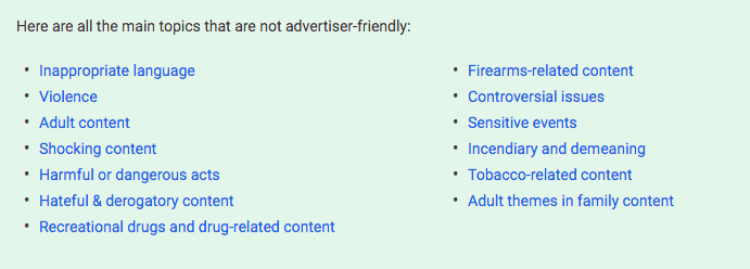 YouTube advertiser content guidelines