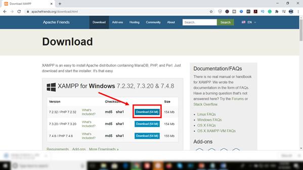 download XAMPP for windows