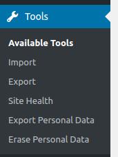 wordpress dashboard tools options