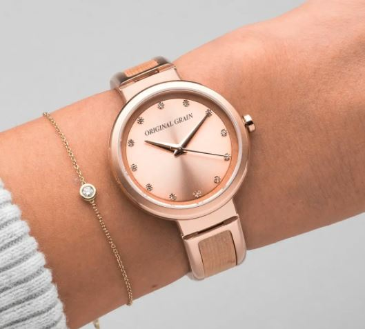 Rose Gold and Birch Bangle Watch, Original Grain Watches Review