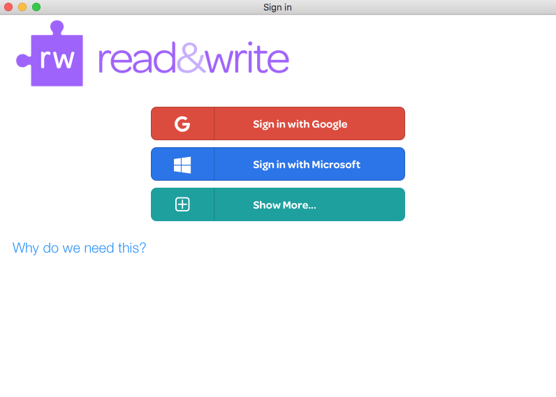 Read&Write sign in screen