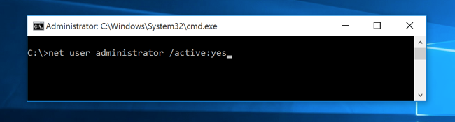 net user administrator or active yes - Screenshot
