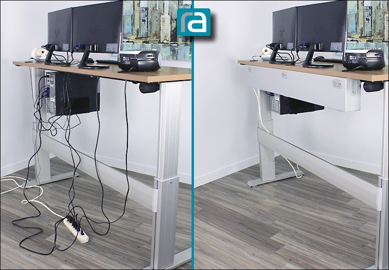 Standing desk before and after adding the RightAngle wire management box. Backside view