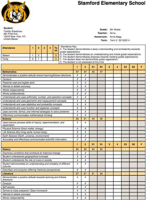 grade 3 report card  Report Card | School Management & Student Information System ...
