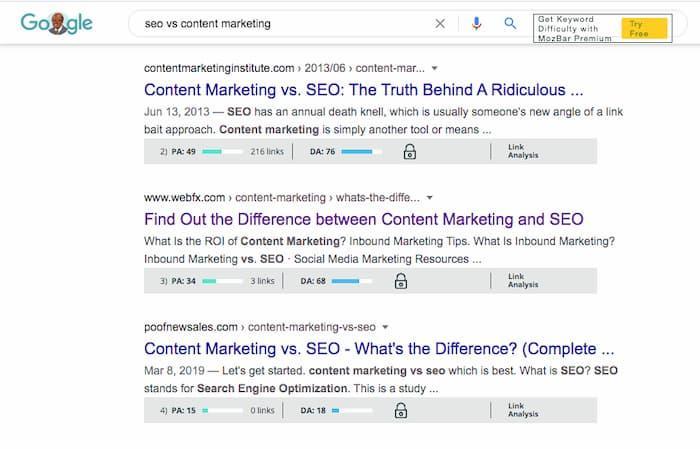Xếp hạng trang web có thẩm quyền thấp trên trang đầu tiên được nhóm với các trang web DA cao