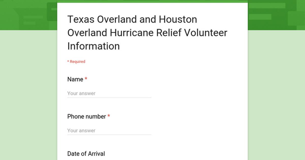 Texas Overland and Houston Overland Hurricane Relief Volunteer Information