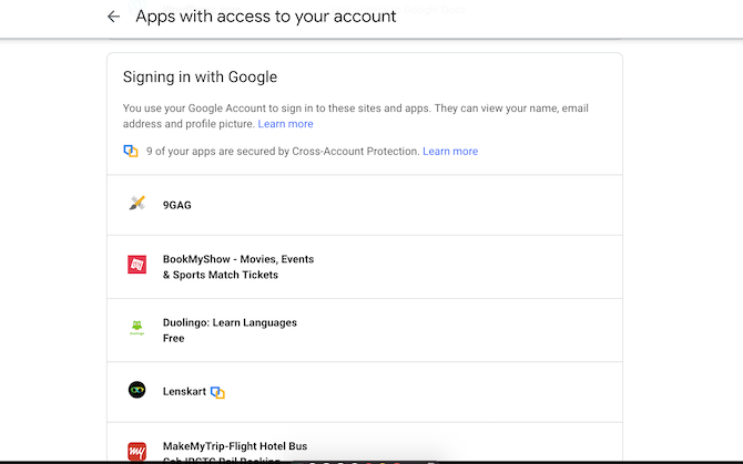 Google third-party account access settings