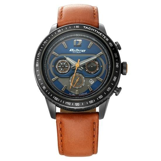 Classic Brown and Blue Duo Chronograph Watches