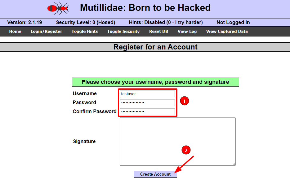 Ettercap Arp poisoning attack [Part 2] - Metasploitable 2 - Mutillidae: Register for an Account. Source: nudesystems.com