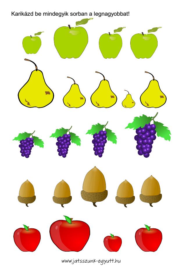 Játék a gyümölcsökkel - feladatlap
