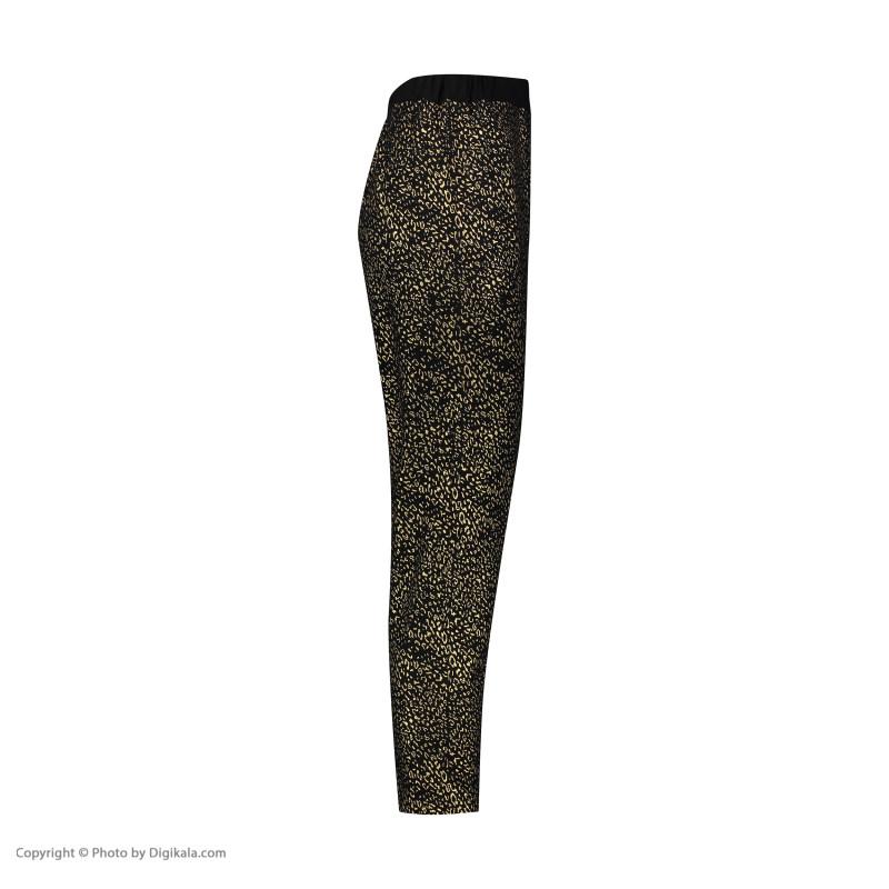 ست تی شرت و شلوار زنانه فمیلی ور طرح گربه پلنگی کد 0223 رنگ مشکی