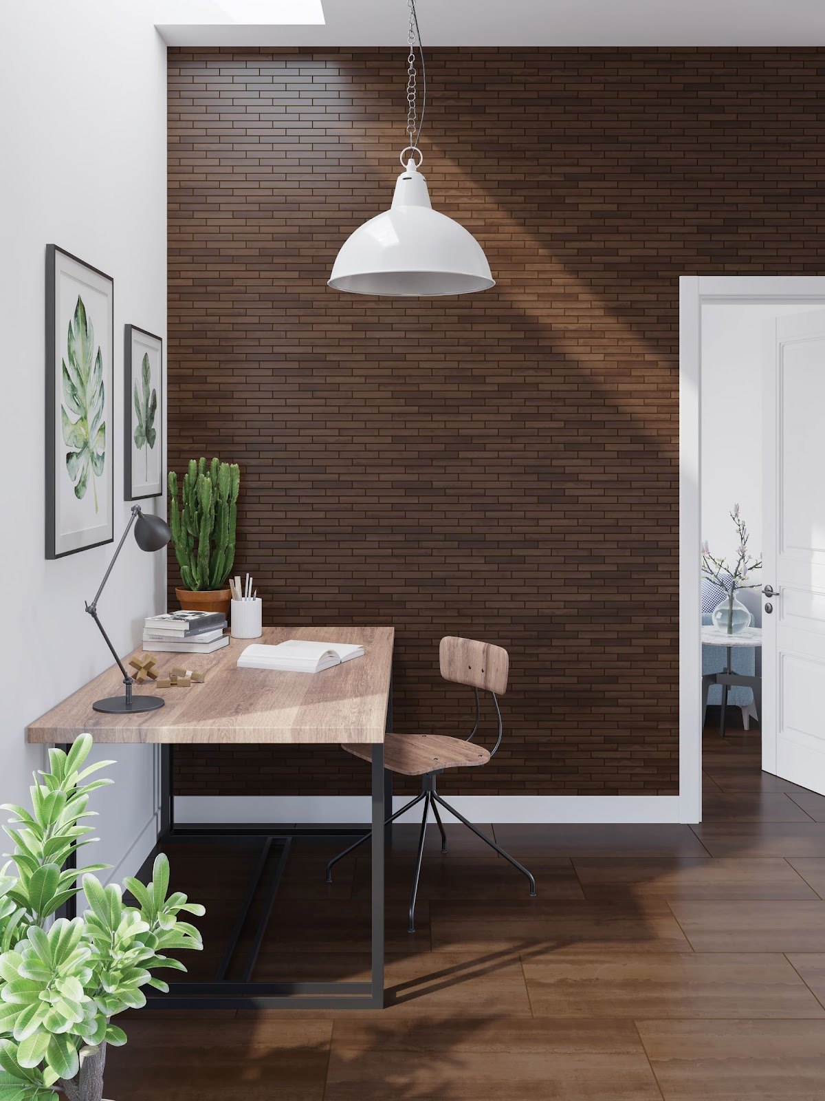 Wood-look tile flooring and wall tile in an office area