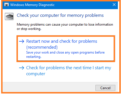 Run the Memory Diagnostic Tool to fix Internal Power Error 0x000000a0 in Windows 10
