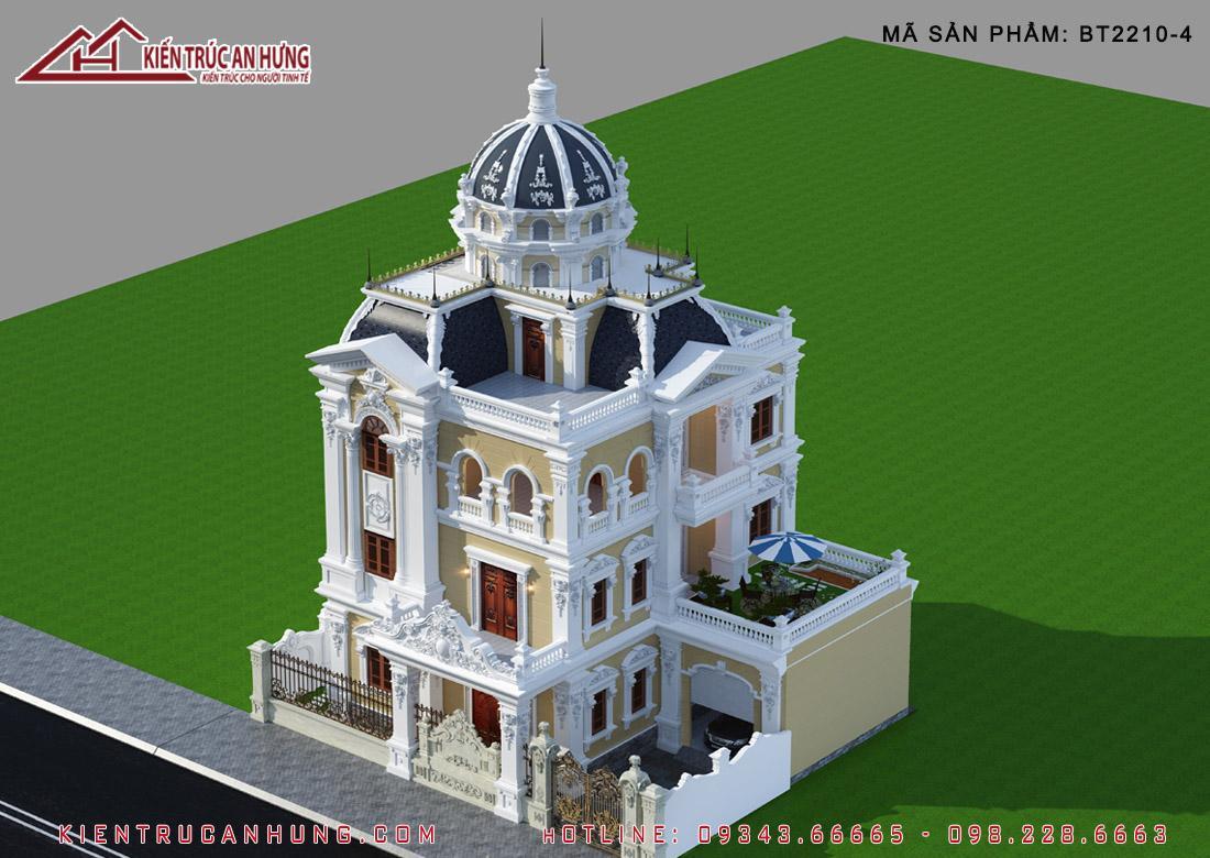 Nổi bật nhất trong kiến trúc lâu đài là mái vòm cong và các tháp (tum) chóp cao vút ấn tượng