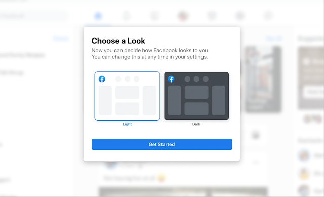 During the Facebook redesign, an introductory product tour was used to let users choose between the light and dark modes