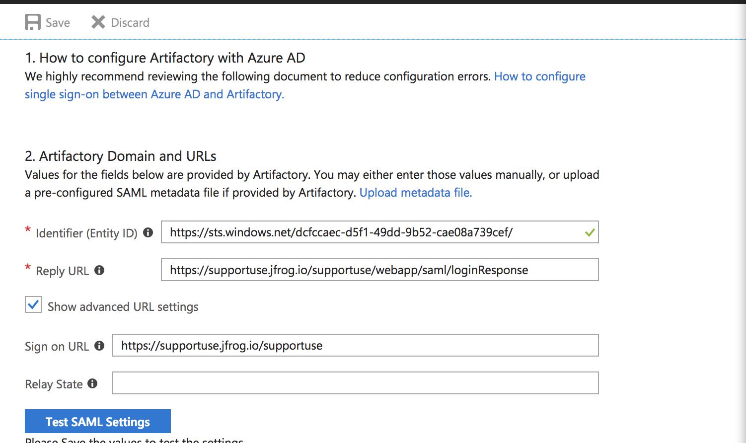 How do I configure Artifactory SAML SSO with Azure AD?