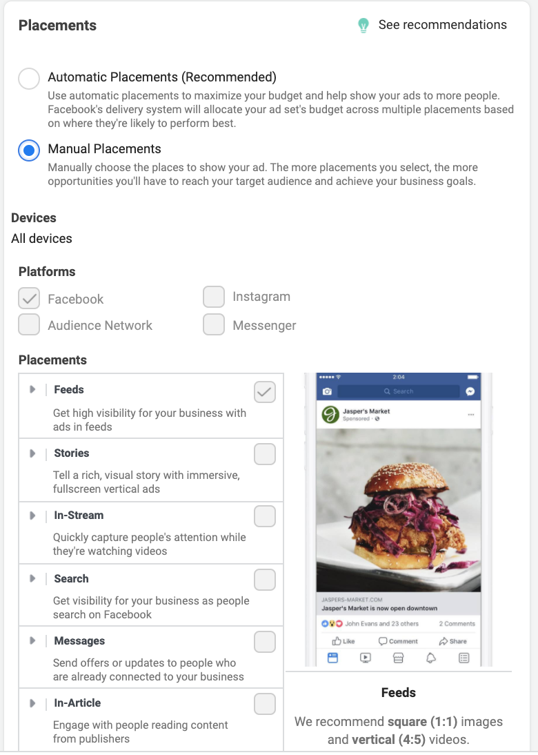 Set Up Your Manual Ad Placement in Facebook Ads Manager