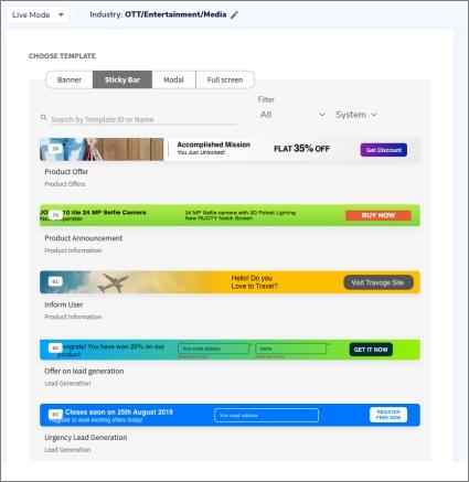 Smartech's default web message campaign templates