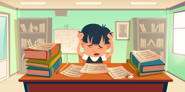 Child suffering from Math anxiety surrounded by books