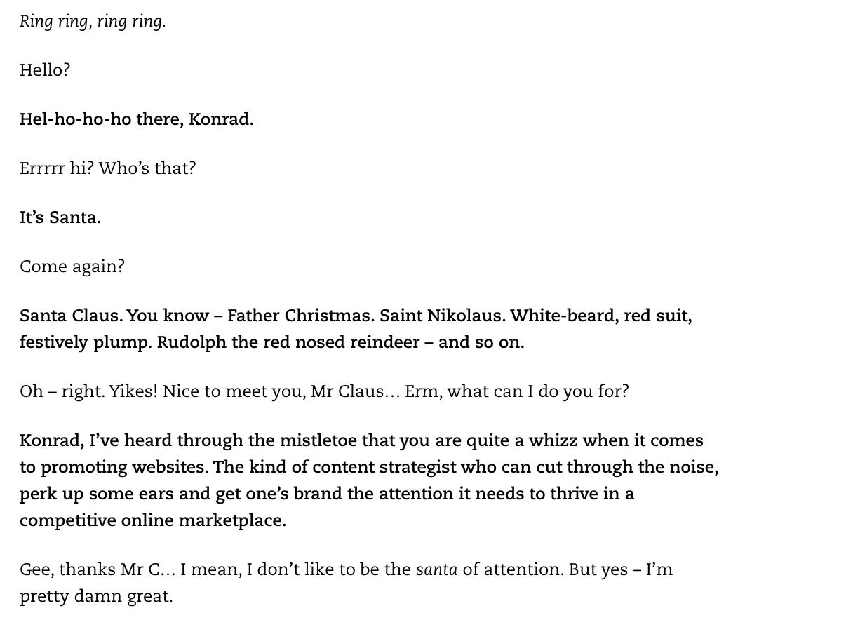 Exemple d'article de blog Konrad Sanders Creative Copywriter