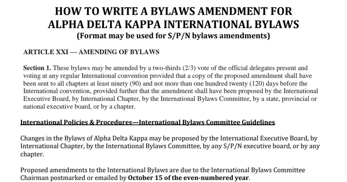 how to write bylaws amendmentspdf  google drive