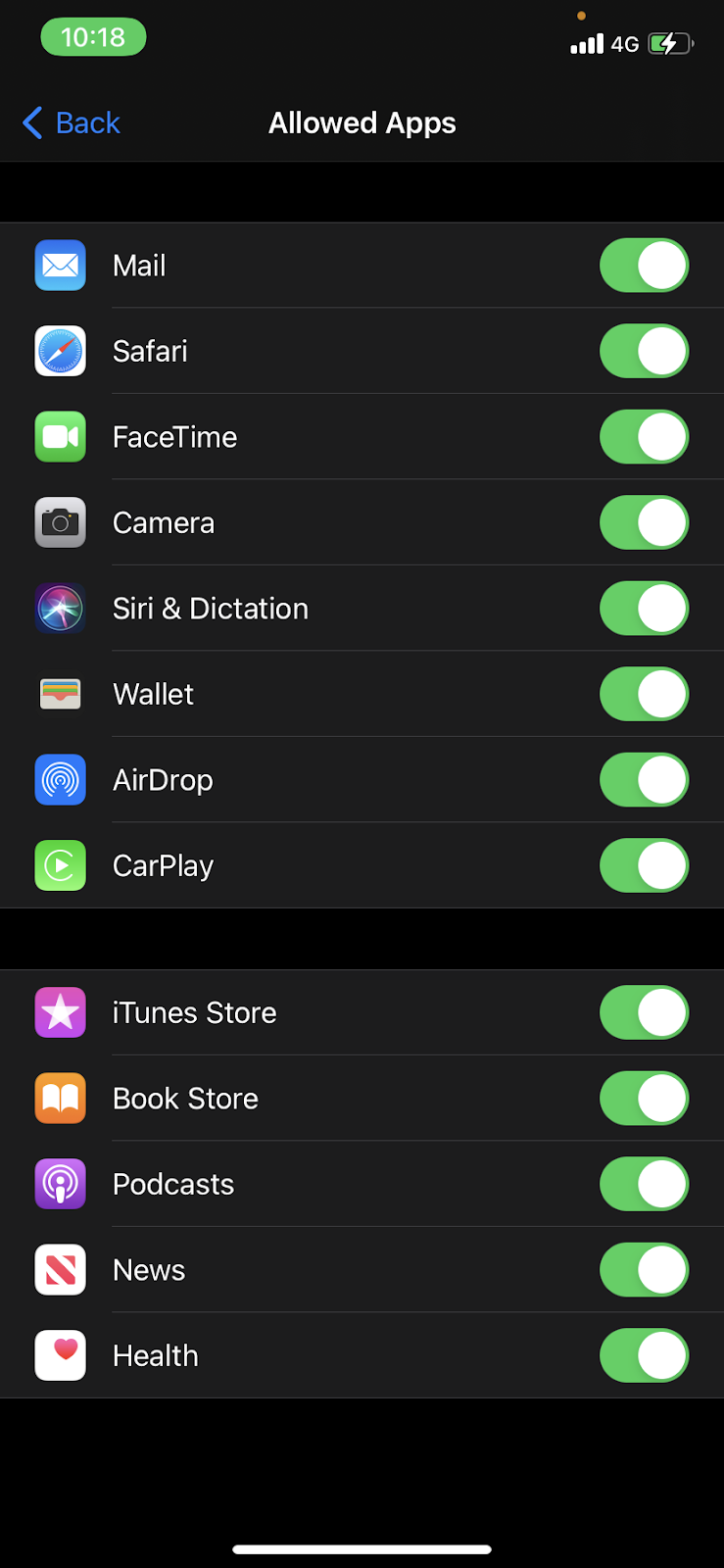 hide safari icon - The Allowed Apps list, with the Safari toggle Switch