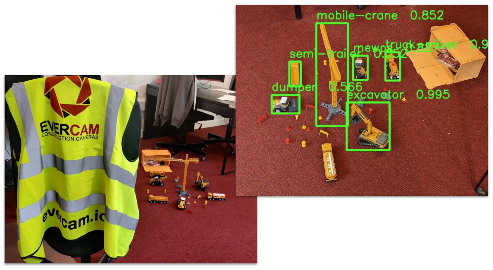 Object detection by Evercam construction camera software