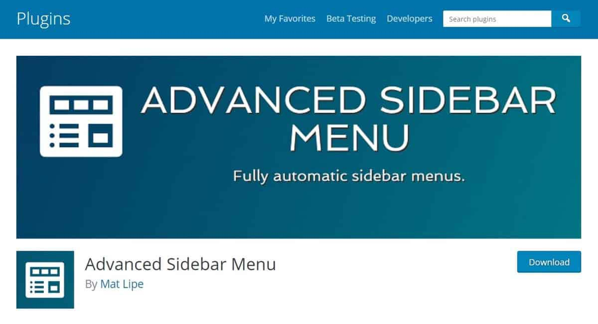 Page de download do plugin Advanced Sidebar Menu
