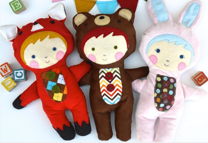 Quilted Stuffed Dolls in Animal Costumes