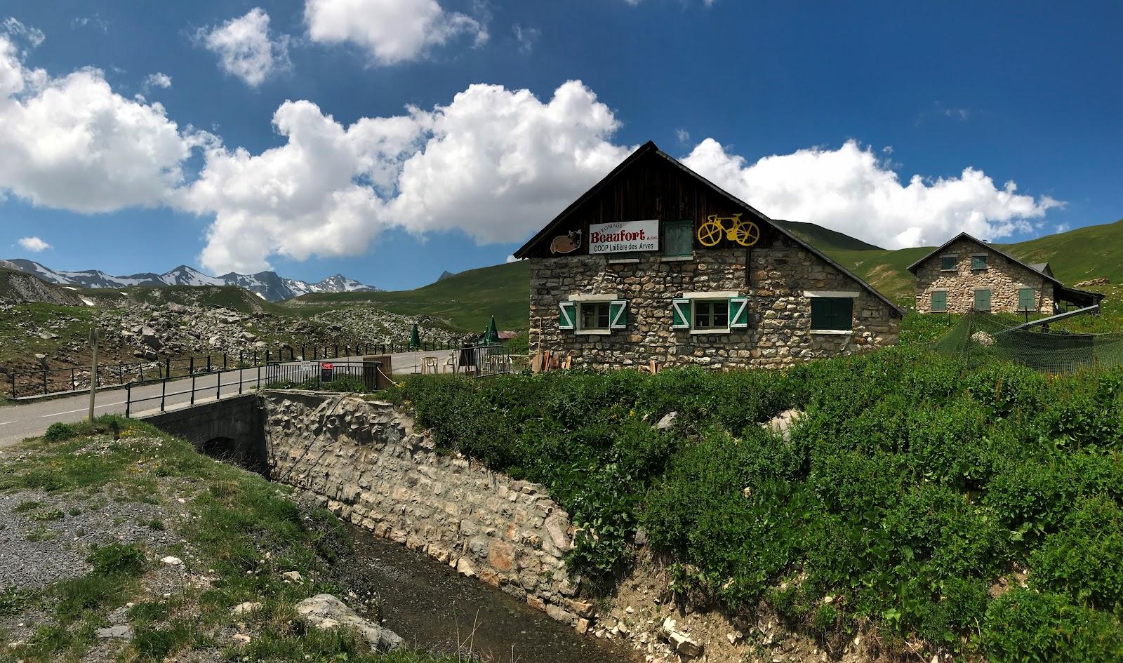 Bike ride up Col du Galibier from Valloire - La Ferme du Galibier - cafe
