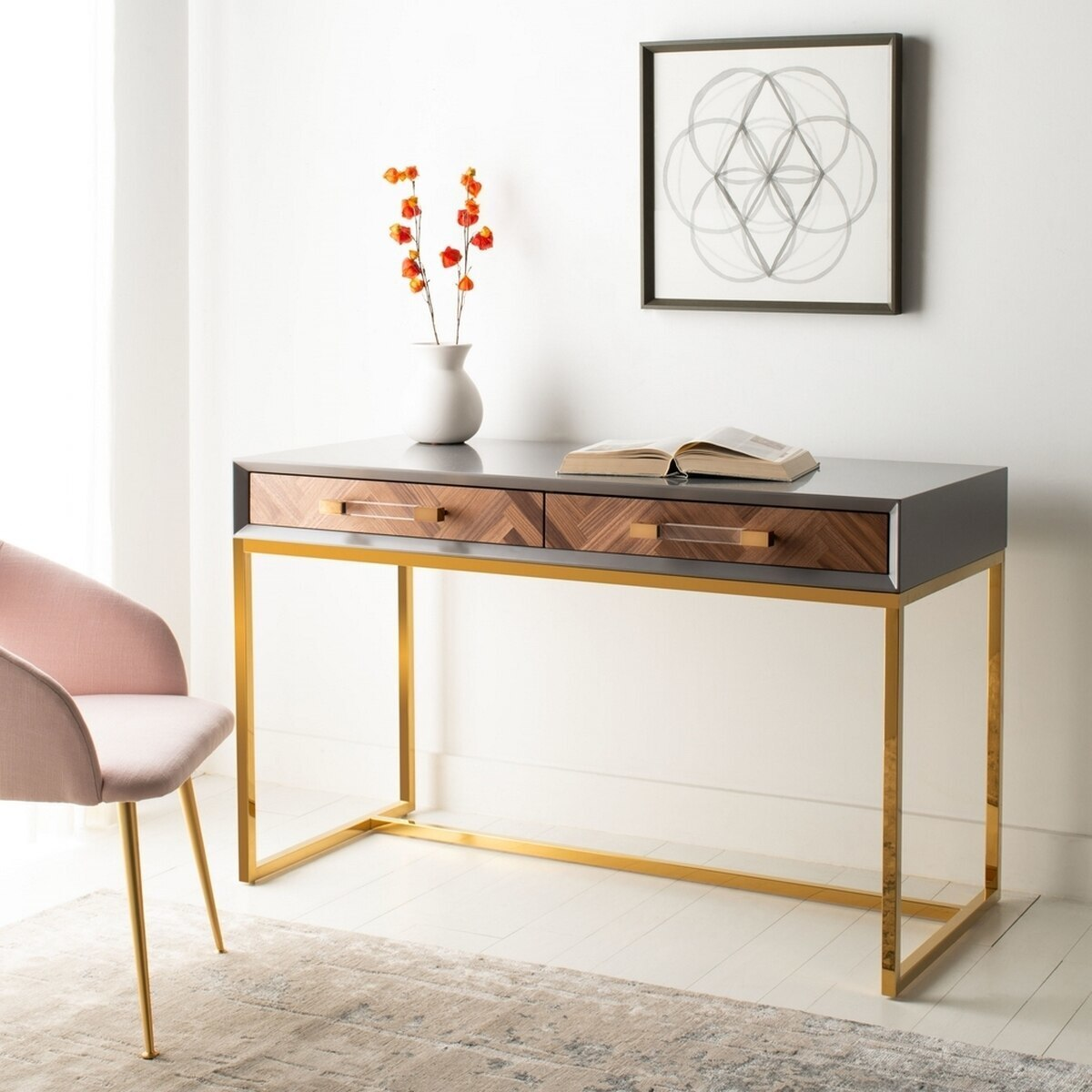 white gold clear acrylic desk