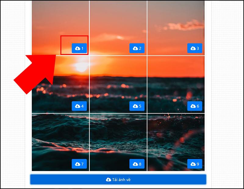 Bước 5: Tải ảnh về theo thứ tự từ trái qua phải và từ trên xuống dưới.