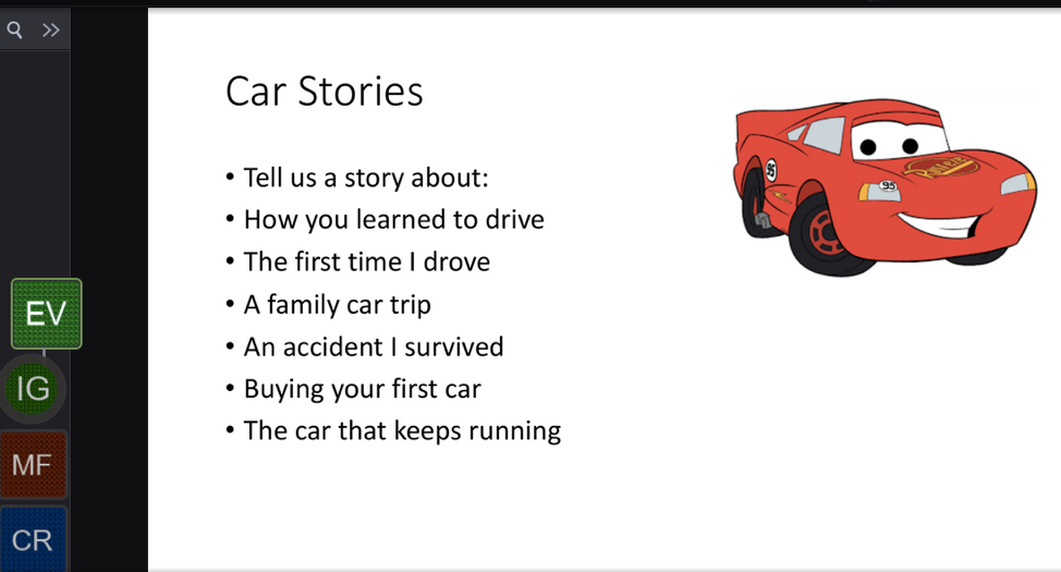 VoiceThread slide with a red car graphic and a prompt for car stories. Tell us a story about: How you learned to drive. The first time I drove. A family car trip. An accident I survived. Buying your first car. The car that keeps running.