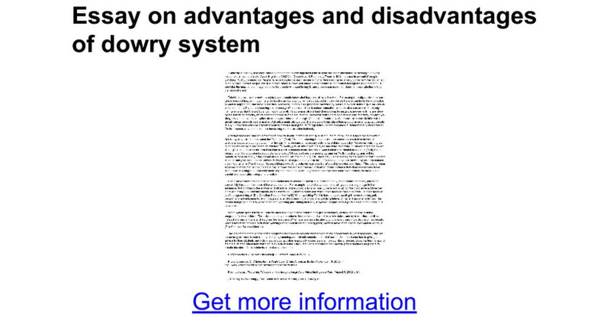 essay on advantages and disadvantages of dowry system google docs
